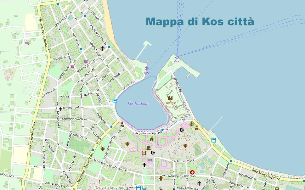 città  di Kos Mappa